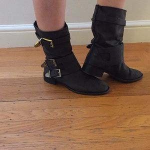Cute dark gray ankle boots with buckles